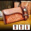 『ウルトラセール対象商品』バイカーズウォレット 3つ折り 長財布 全面 カービング レザーウォレット メンズ