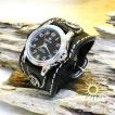 『決算セール対象商品』レザーブレスウォッチ 本革 牛革 メンズ DAYSARTブレスウォッチ シルバー925留め具 ブラック 腕時計
