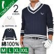 ゴルフウェア メンズ ゴルフ セーター 大きいサイズ ニット チルデン Vネック コットン ゴルフウエア ゴルフトップス 春  CG-ST547