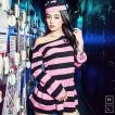 囚人 コスプレレディース レディース costume【コスチューム】ピンクボーダー セクシープリズナー 3点セット