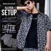 セットアップ メンズ 夏 半袖 90年代 HIPHOP ロゴ総柄デザイン 黒 シャツ ハーフパンツ 2018夏 新作