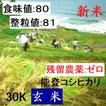 コシヒカリ 玄米 新米30年産 エコ栽培 特A一等米(食味値80) 30K 世界農業遺産 能登里山の米