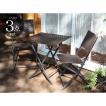 ガーデンテーブル チェアーセット 屋外専用 人工ラタンファニチャー 折畳み フォールディングテーブル1台 チェアー2脚の3点セット