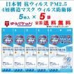 日本製 抗ウィルス PM2.5 4層構造 マスク ウィルス防衛隊F 5枚入×5袋セット ゆうパケット便限定 送料無料