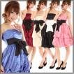 パーティードレス 裾2段のバルーンショートドレス ベアトップ 黒 青 グレー ピンク ワイン シャンパンゴールド 結婚式 ブライダル 2次会