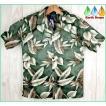 アロハシャツ メンズ ダークグリーン葉柄 PW HAWAII ハワイ仕入 大きいサイズ有 半袖