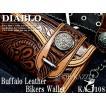 長財布 メンズ 財布 バイカーズ 水牛革 カービング調 バイカーズウォレット レザー 2色 DIABLO KA-1108