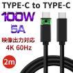 USB Type-C to Type-C 充電ケーブル 充電器 PD 急速充電 100W 5A 高速データ転送 4K 60Hz 映像出力 高品質 iPad Pro Macbook 2m