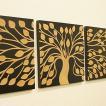 アートフレーム 3連 ツリー アートパネル 3連 北欧 壁掛け アート レリーフ モダン アジアン バリ 木製 ウッドスカルプチャーアート