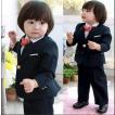 子供スーツ フォーマル 男の子 キッズ 4点セット 入学式 卒業スーツ 七五三 ピアノ発表会 結婚式 黒 80-140cm