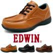 ビジネススニーカー メンズ 仕事靴 防水 防滑 軽量 幅広 3E モカシン Uチップ 紐靴 EDWIN エドウィン EDM458 edm458