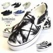 スリッポン メンズ スニーカー 靴 カジュアル キャンバス ルミニーオ luminio ブラック ストライプ 男性用 ブランド 3737