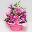 花 ギフト 誕生日の花 ピンクの百合 ピンクリリー アレンジメント 翌日配達  ユリ ゆり