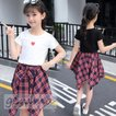 キッズセットアップ 女の子 子供服 キッズ半袖 Tシャツ スカートセット チェック柄 2点セット ジュニア 可愛い 子ども 子供セットアップ 夏