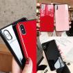 iPhoneXS Max iphoneXR ケース iPhoneXS iPhonex 耐衝撃 曲面おしゃれ背面ガラス iPhoneケース 韓国 アイフォンケース カバー キラキラ  米軍 黒赤ピンク