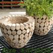 鉢カバー・木製・チークウッドプランター W4706(直径47cm×H44cm)(底穴なし)(プランター/植木鉢/鉢/ポット)(寄せ植え/観葉植物用)