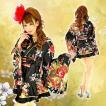 着物ドレス ミニ ドレス 和柄 花魁 フリル HK 92752 黒