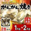 /送料無料!/ミルキー鉄男のがんがん焼き 広島県産殻付きかき 缶入り 2缶セット(1kg+2kg)