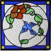 ステンドグラスパネル デザインガラス インテリア 建具 窓にオーダーメイド 鳥1