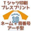 Tシャツ印刷・アーチ型ネーム+背番号プレスプリント