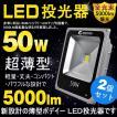 2個セット LED 投光器 50W 500W相当 薄型 LED投光器 広角 昼光色 6000K 看板灯 集魚灯 作業灯 駐車場灯 防水加工 5mコード付き 一年保証 LD103