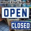 メタルサインプレート 看板 OPEN/CLOSED オープン クローズ フリップ サインボード