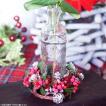 フラワーベース 花瓶 ガラス クリスマスリース ビーズデコミニリングボトル