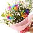 ☆レインボーローズ☆ブーケ風花束レインボーローズ5本【ブーケ風】花束・薔薇・バラ・プレゼント・ギフト・ラメ