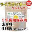クーポンあり。5年長期保存用。ライスクッキー・玄米味 40袋(約46g×40)(グルテンフリー)(送料無料)アレルギー物資27品目とアーモンド不使用