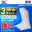 ミズノ MIZUNO 野球 ソックス 3足組 ジュニア 21-24cm アンダーストッキング 3P 12JX6U0201