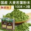 国産・大麦若葉粉末100本×2個 無添加 100% 便利なスティック包装 青汁スムージー、野菜ジュース、食物繊維不足に 無農薬 お徳用