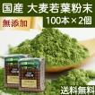 送料無料 国産・大麦若葉粉末100本×2個 無添加 100% 便利なスティック包装 青汁スムージー、野菜ジュース、食物繊維不足に 無農薬 お徳用