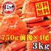 【送料無料】ボイルずわい蟹/姿 3kg(750g前後×4尾)【お歳暮 ギフト カニ】