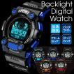 腕時計 デジタルウォッチ 防水 多機能 バックライト液...