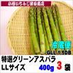 3袋 化粧箱  特選グリーンアスパラ LLサイズ 400g 北海道産
