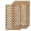 天然木製ラティスフェンス 150×90cm格子ブラウン4枚組