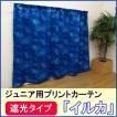 遮光タイププリントカーテン 「イルカ」(既製品)(HK) 100×100cm2枚組 ジュニア 子供部屋 厚地カーテン
