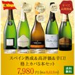 ワイン 白スパークリングワイン <送料無料>スペイン熟成&高評価&辛口!格上カバ5本セット