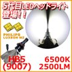 LEDヘッドライト 9007(HB5) ファンレスリボン PHILIPS LUXEON MZ 高輝度 2500LM 6500ケルビン ホワイト 1年保証