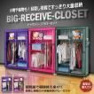 BIG レジーブ クローゼット 目隠しカーテン搭載 超軽量 ハンガー 小物 衣類 棚付き 洋服 押入れ 4色カラー ET-BIGCLO