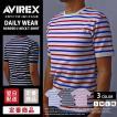 送料無料 ポイント10倍 AVIREX Tシャツ アビレックス Tシャツ ボーダーTシャツ Uネック Tシャツ 半袖 無地 デイリー メンズ DAILY WEAR デイリーウェア 6163371