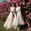 プリンセス ウエディングドレス 二次会 花嫁ドレス 花嫁 結婚式 ドレス リボン結び ウェディングドレス パーティードレス イブニングドレス フォーマルドレス