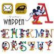 ワッペン アップリケ ディズニー キャラクター ミッキー ミニー イニシャル Disney アルファベット アイロン 刺繍 メール便可
