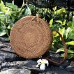 アタバッグ カゴバッグ サークルバッグ アタバッグショルダー 高級 バリ島 ハンドメイド 丸型カゴバッグ 斜め掛け 丸型生地付き仕様 「直径20cm」  No115