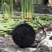 黒アタバッグ カゴバッグ  サークルカゴバッグ カゴサークルバッグ  バリ島  高級 ハンドバッグ  斜めがけバッグ 丸型生地付き仕様  「直径20cm」 No115黒