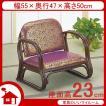 籐椅子 籐の椅子 座椅子 ラタン 椅子 ロータイプ 座面高23cm 金襴紫生地 IMS130B 今枝商店