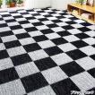 選べる撥水加工タフトカーペット/絨毯 〔ブラックチェック 1: 江戸間2畳/正方形〕 フリーカット可 日本製