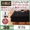 新 移動ラクラク 分割式ポケットコイルマットレスベッド 脚30cm 専用敷きパッドセット ダブル