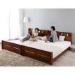 高さ調整可能 ベッド ワイドK280 (スタンダードポケットコイルマットレス付き) すのこ /宮付き 脚付き 連結 分割式 木製