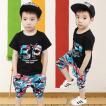 韓国子供服 セットアップ ブラックTシャツ カモフラ 迷彩 100 150